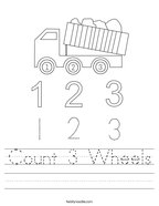 Count 3 Wheels Handwriting Sheet