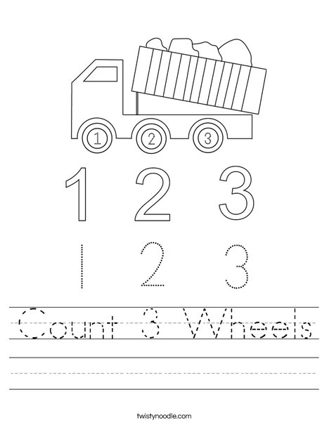 Count 3 Wheels Worksheet