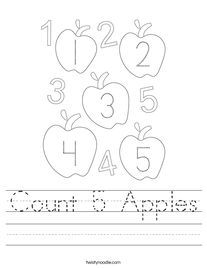 Count 5 Apples Worksheet