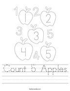 Count 5 Apples Handwriting Sheet