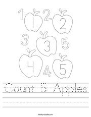 Count 5 Apples Handwriting Sheet