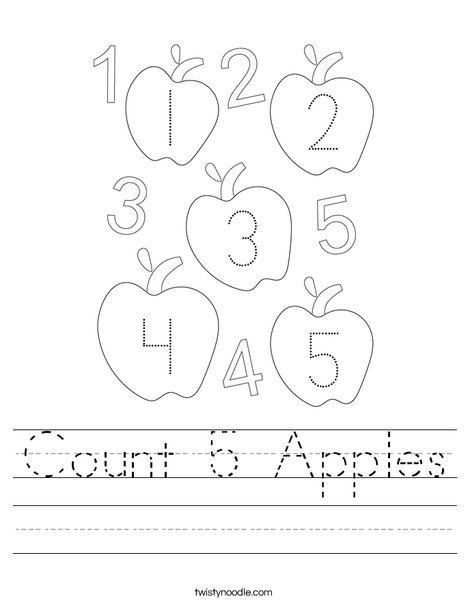 Count 5 Apples Worksheet