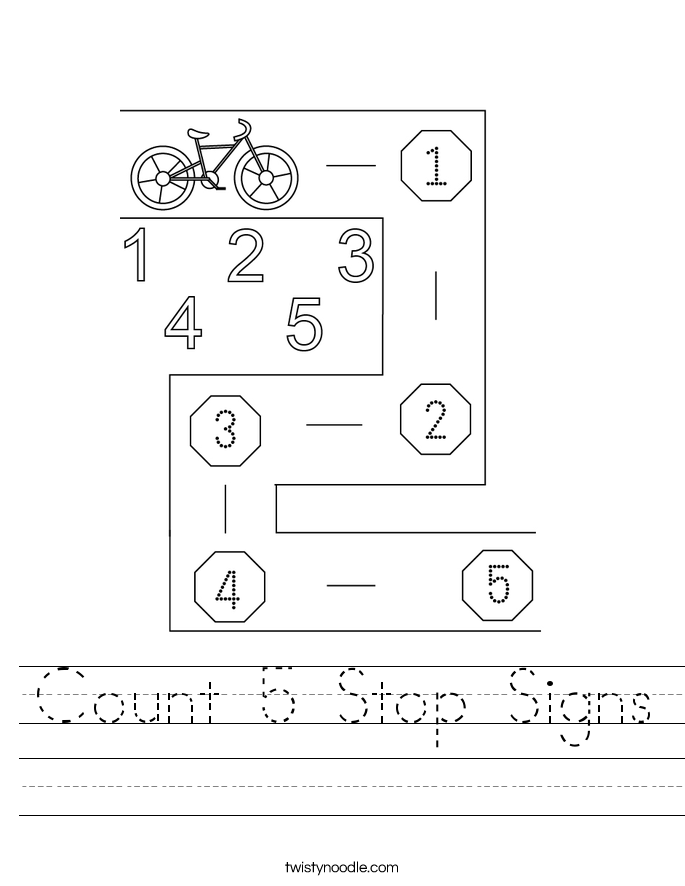 Count 5 Stop Signs Worksheet