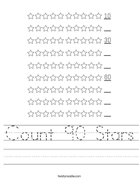 Count 90 Stars Worksheet