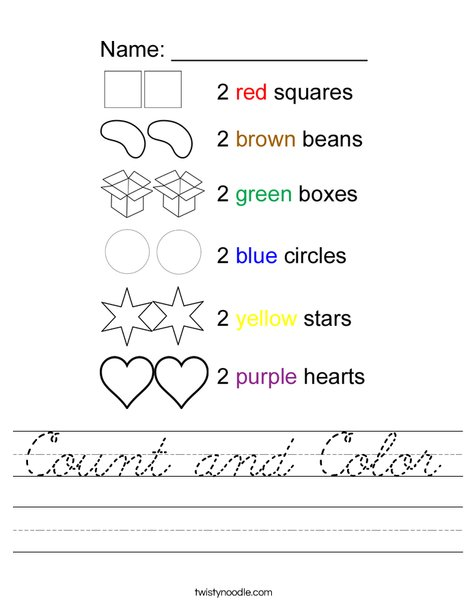 Count and Color 2 Worksheet