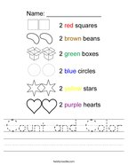 Count and Color Handwriting Sheet