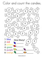 Color and count the candies Coloring Page