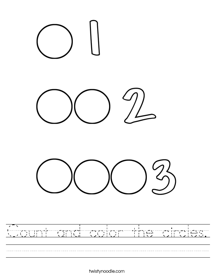 Count and color the circles. Worksheet