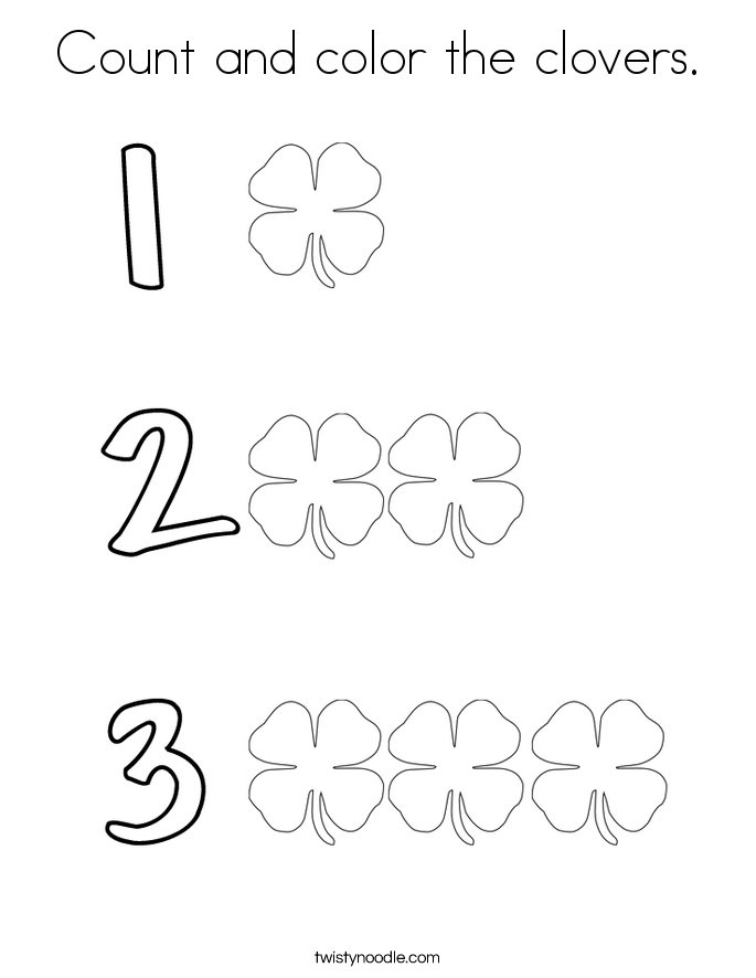 Count and color the clovers. Coloring Page