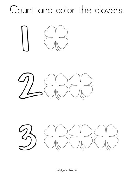 Count and color the shamrocks. Coloring Page