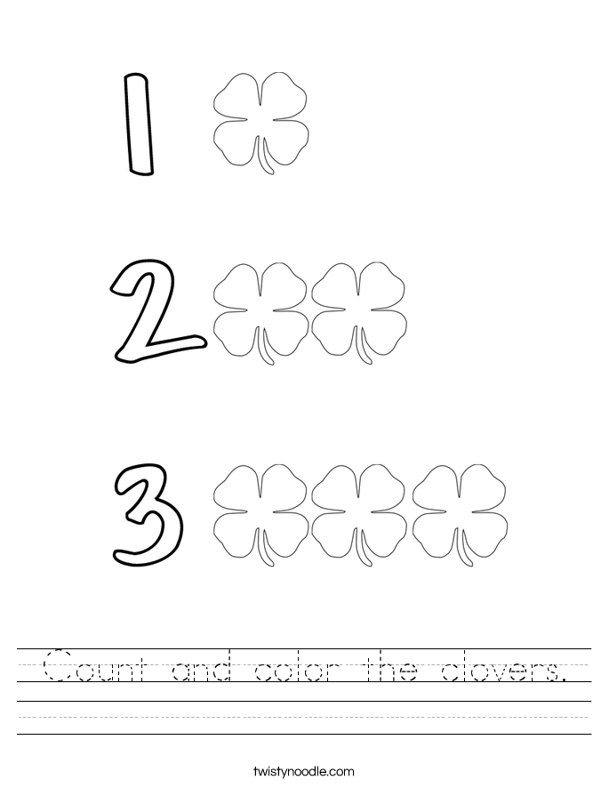 Count and color the clovers. Worksheet