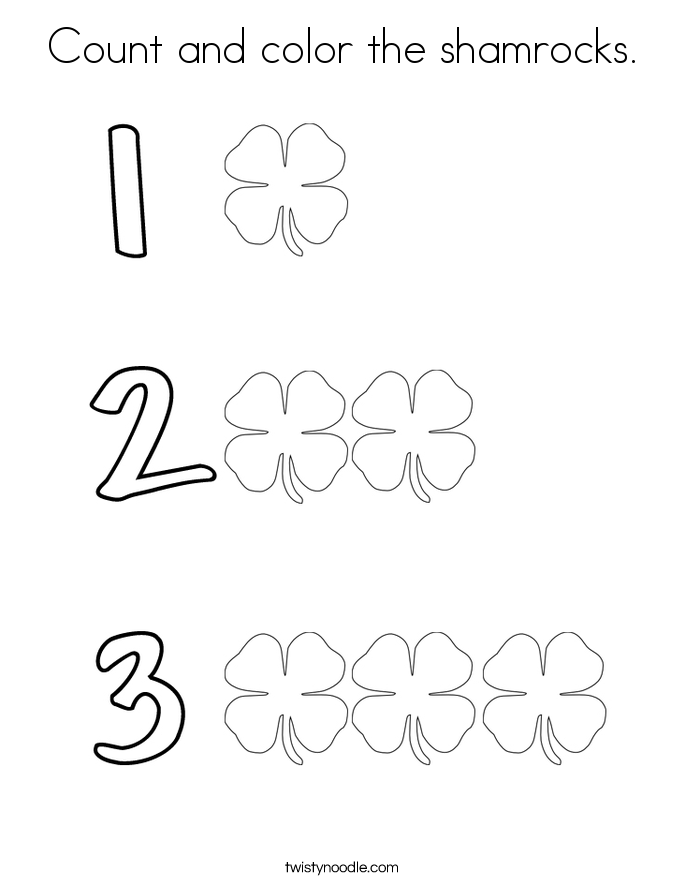 count and color the shamrocks coloring page - St Patricks Day Pictures To Color 2