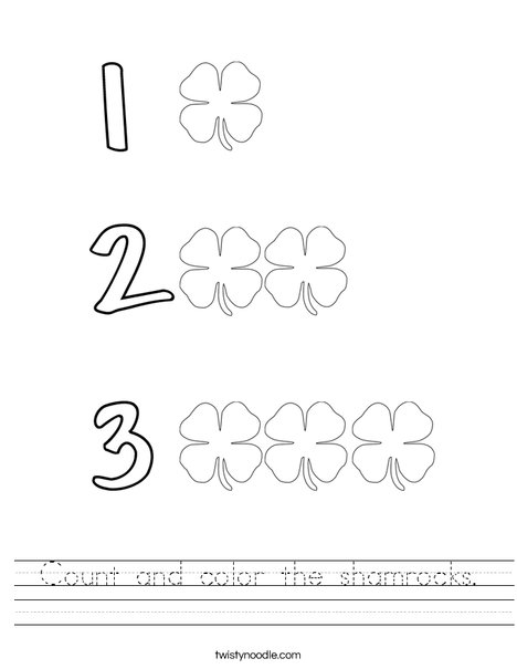 Count and color the shamrocks. Worksheet