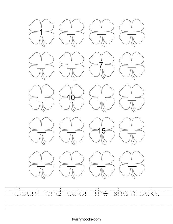 Count and color the shamrocks. Worksheet