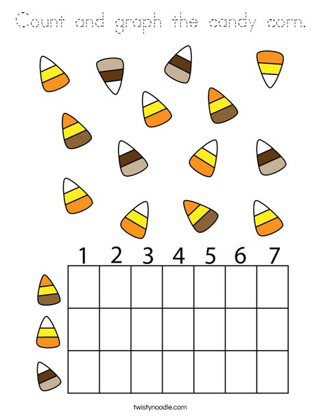 Count and graph the candy corn. Coloring Page
