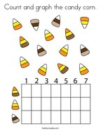 Count and graph the candy corn Coloring Page