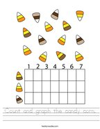 Count and graph the candy corn Handwriting Sheet
