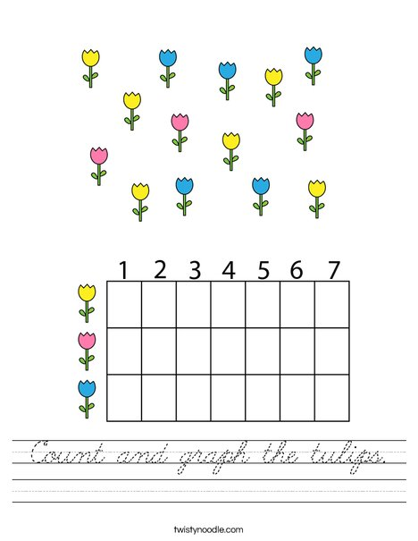 Count and graph the tulips. Worksheet