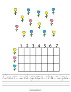 Count and graph the tulips Handwriting Sheet
