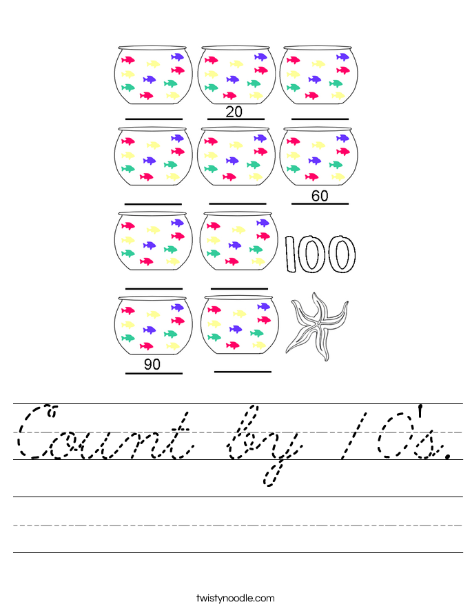 Count by 10's. Worksheet