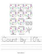 Count by 10's Handwriting Sheet