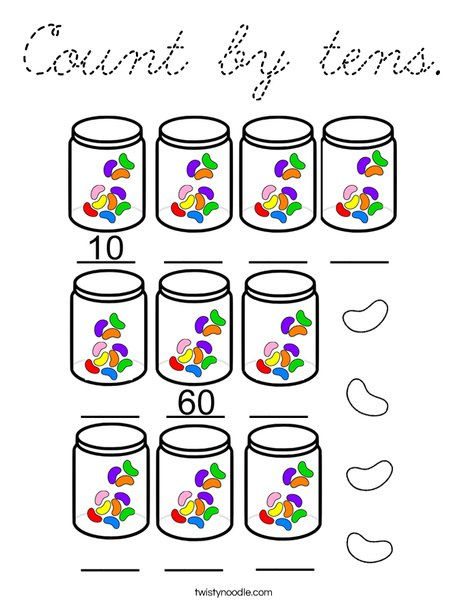 Count by tens Coloring Page