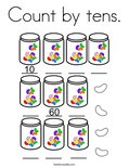 Count by tens. Coloring Page