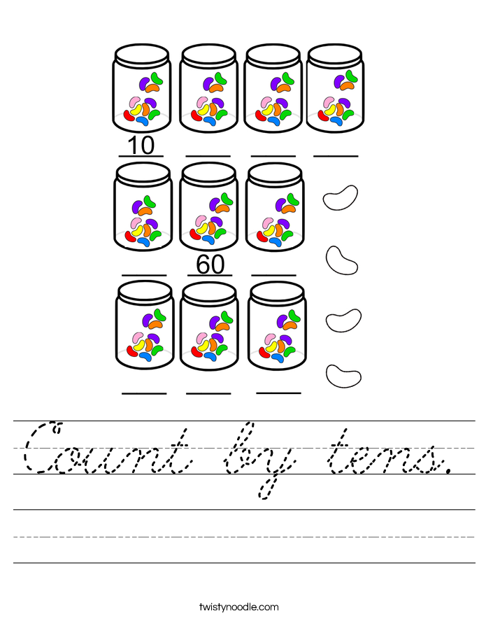 Count by tens. Worksheet