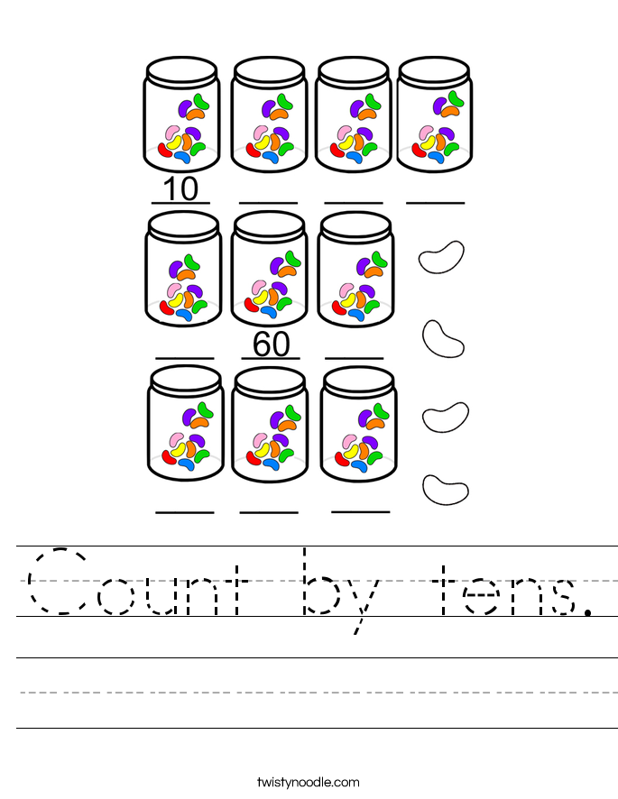Count by tens Worksheet - Twisty Noodle