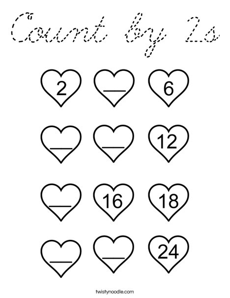 Count by 2's Coloring Page