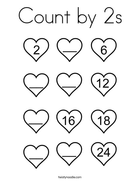 skip counting coloring pages | Count by 2s Coloring Page - Twisty Noodle