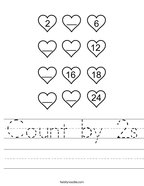 Count by 2s Handwriting Sheet