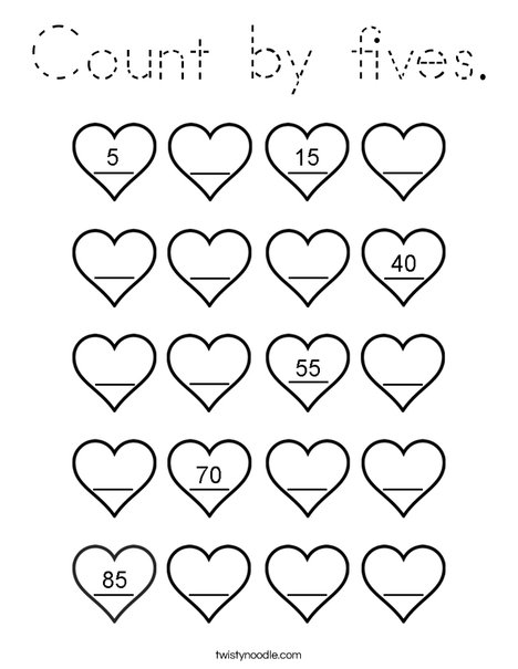 Count by fives. Coloring Page