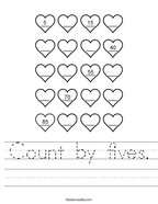 Count by fives Handwriting Sheet