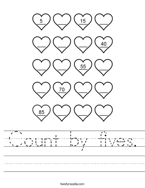 number names worksheets counting in fives free printable worksheets for pre school children. Black Bedroom Furniture Sets. Home Design Ideas