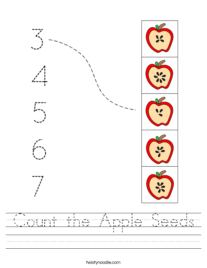 Count the Apple Seeds Worksheet