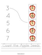 Count the Apple Seeds Handwriting Sheet