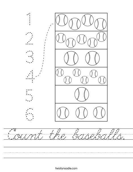 Count the baseballs. Worksheet