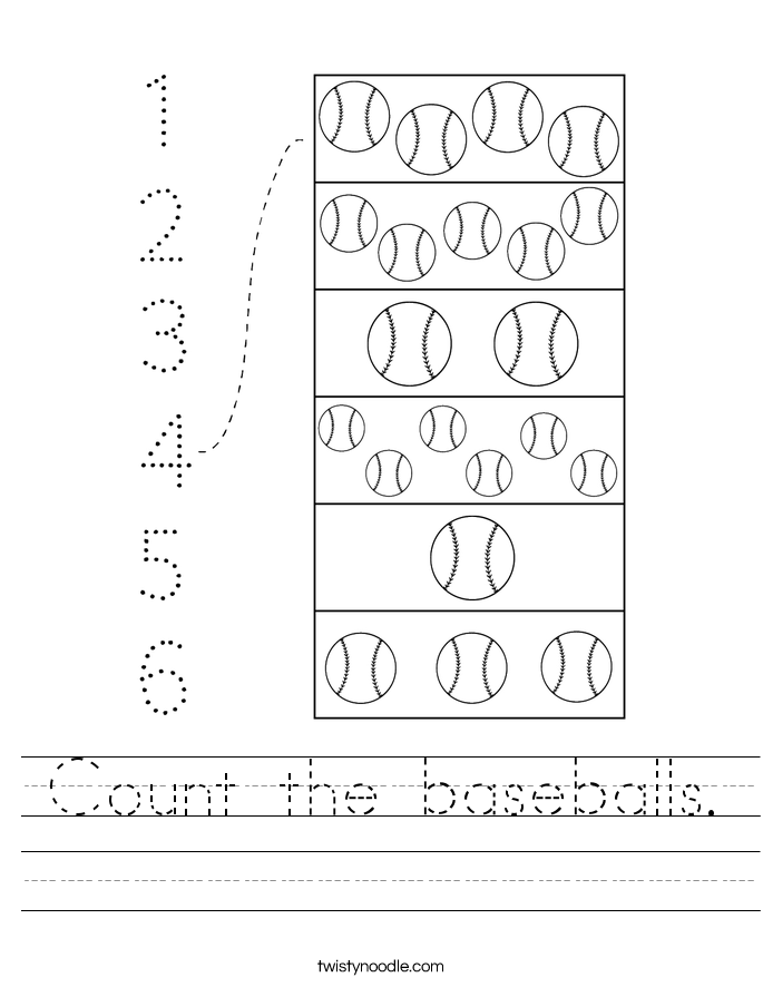 Count the baseballs. Worksheet