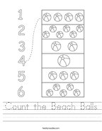 Count the Beach Balls Handwriting Sheet