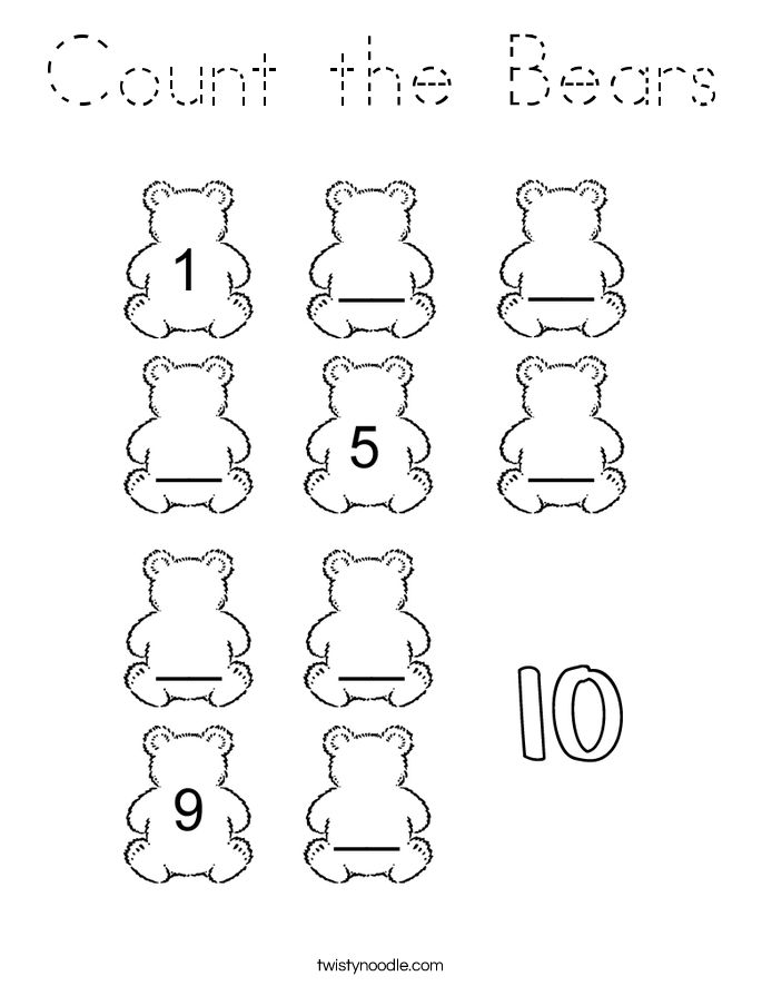 Count the Bears Coloring Page
