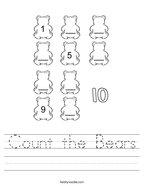 Count the Bears Handwriting Sheet