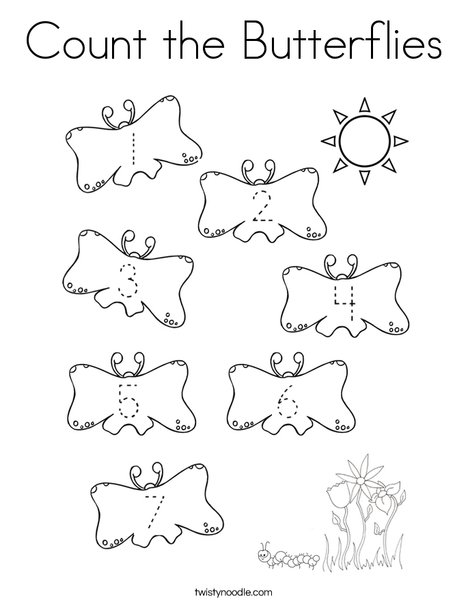 Count the Butterflies Coloring Page