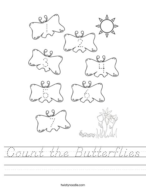 Count the Butterflies Worksheet