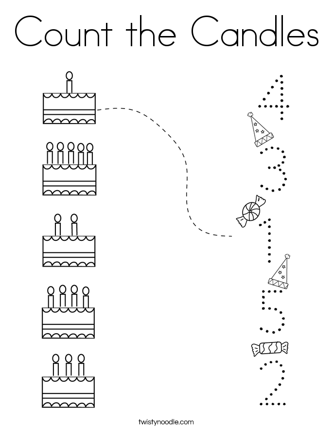 Count the Candles Coloring Page