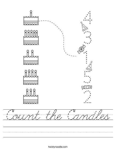Count the Candles Worksheet