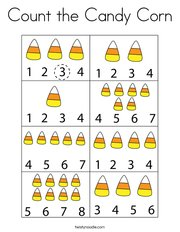 Count the Candy Corn Coloring Page