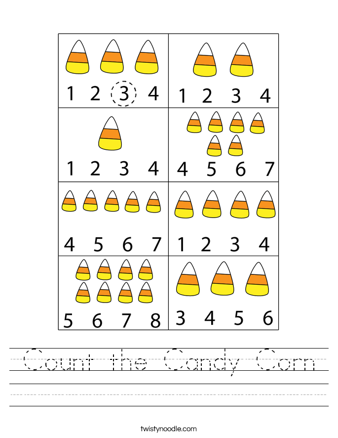 Count the Candy Corn Worksheet