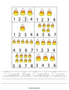 Count the Candy Corn Handwriting Sheet