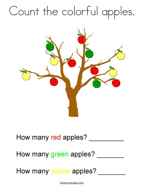 Count the colorful apples. Coloring Page